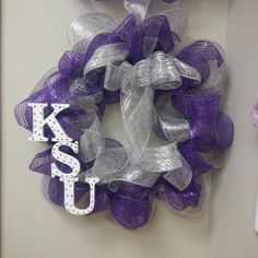 Large K STATE / Kansas State University Wreath  Purple Silver and White with KSU polka dot letters