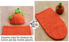 """A friend of mine is throwing a baby shower and the theme is """"our little pumpkin"""". When she asked me if I could make a cute pumpkin hat, I jumped at the chance. I thought a set would be nice to keep..."""