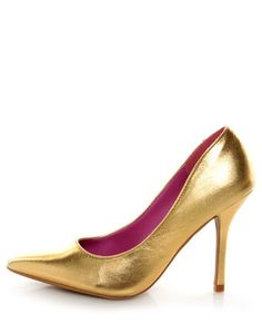 Gold metallic pumps...I like the color on the inside