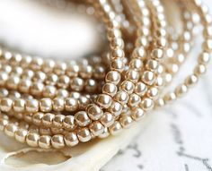 Czech pearl beads Full Strand  Powder Beige  faux by MayaHoney