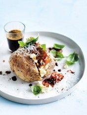 ricotta, salami and basil jacket potatoes - Eating Pork Recipes, Wine Recipes, Gourmet Recipes, Dessert Recipes, Cooking Recipes, Recipies, Donna Hay Recipes, Bellini Recipe, Feel Good Food
