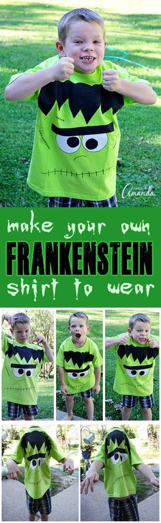 This DIY Frankenstein shirt is perfect for your favorite little monster to wear on Halloween, or any time! Adults will like it too, especially teenage girls. A green shirt, some fabric paint and markers and you have a fun wearable Halloween craft project!