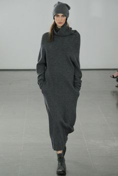Joseph Fall/Winter 2014 Hand knitted cotton dress on runway today