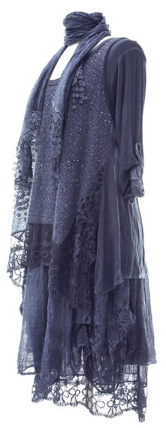 Ladies Womens Italian Lagenlook Quirky Layering LONG 3 Piece Sequin Lace Mohair Knit Long Sleeves Scarf Tunic Top Dress One Size Plus (UK 12-18) (One Size Plus, Teal)