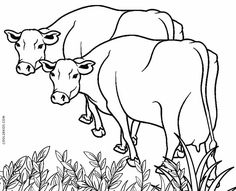 Free Printable Cow Coloring Pages For Kids Farm Animal Coloring Pages, Coloring Pages To Print, Coloring Book Pages, Coloring Pages For Kids, Cow Drawing, Cow Colour, Free Printable Coloring Sheets, Cartoon Cow, Fox Painting