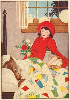"""Wonderful illustration of """"Little Red Riding Hood"""" from old booklet """"Famous Fairy Tales for Children."""""""