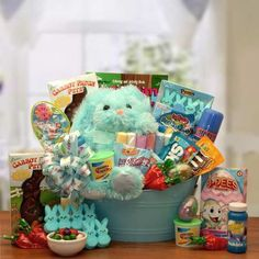 Easter baskets easter bunnies easter eggs chocolate free fun easter basket sweet petes rockin treats easter gift basket for boys negle Images