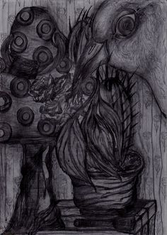 Drawing: Graphite on Paper.  Illustrations for fairy tale @ Tailor and hatter girl@