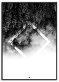 omvendt natur i sort og hvid med firkant faded ud til hvid