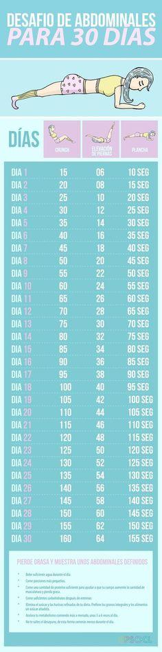 Desafío 30 días abdominales Exercises To Flatten Stomach, Tummy Flattening Exercises, Belly Fat Exercises, 30 Day Abb Challenge, Belly Challenge, Workout Challenge, Workouts To Tone, At Home Workouts, Gym Workouts