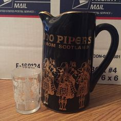 VINTAGE BLACK CERAMIC PITCHER 100 PIPERS SCOTLAND SCOTCH WHISKEY - SHOT GLASS  #100Pipers #ScotchWhiskey #ShotGlass #100PipersScotch
