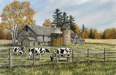 Down on the Farm, a watercolor by Kathy Glasnap of Door County, Wisconsin