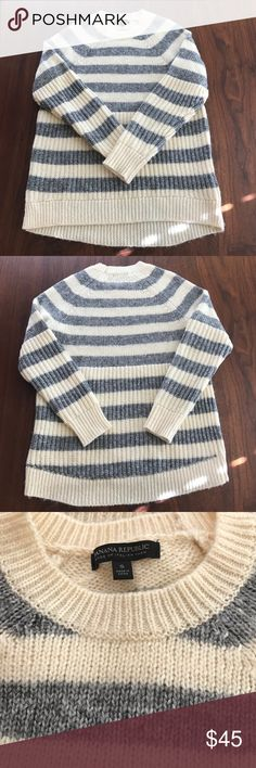 Banana Republic Italian yarn sweater NWOT Grey and cream striped sweater. Perfect condition, purchased and removed tags but never wore it (I'm sure many can relate to this!) Price is pretty firm as I may keep it if doesn't sell. Size small but could also fit a medium. Banana Republic Sweaters Crew & Scoop Necks