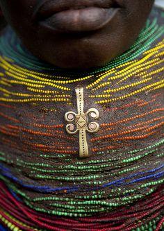 A Vilanda, Traditional Mwila Necklace, Chibia Area, Angola by Eric Lafforgue, via Flickr