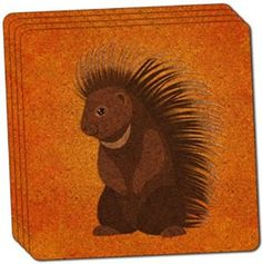 "Amazon.com: Custom & Cool {4"" Inches} Set Pack of 4 Square ""Grip Texture"" Drink Cup Coaster Made of Cork w/ Cork Bottom & Cute Forest Creatures Smiling Porcupine Design [Brown, Orange, Black & White Colors]: Home & Kitchen"