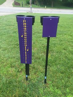Cornhole Scoreboard with beverage holders. This 2-piece set is 4ft in height, and easily steps into the ground. Both the scoreboard and the opposite side can hold up to 2 beverages each. The black cup holder is made from a durable heavy duty plastic. It can easily hold bottles, cans or tumblers. The Scoreboard is made from 3/4 inch plywood which is painted to the color of your choice and sealed with laquer for long lasting results. Holes are drilled at each number on both sides for easy ...