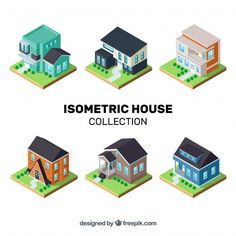 Isometric house collection Free Vector