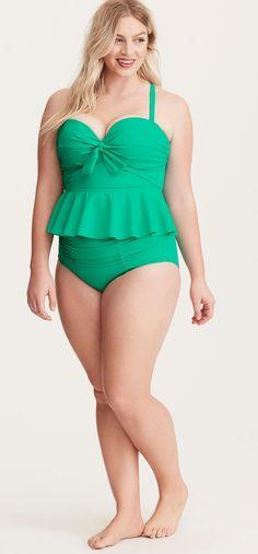 Plus Size Peplum Tankini Swimsuit