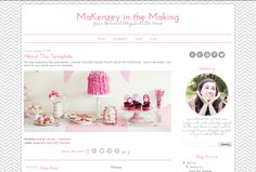 Check out Blogger Template - Pink Grey Chevron by Blogaholic Designs on Creative Market