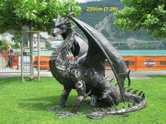 dragon statue sculpture figure, life size scrap metal art