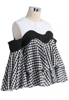 91df23986fae90 It s Our Youth Cold-shoulder Check Dolly Top