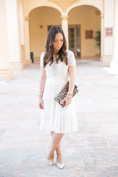 Special occasion dressing with Express - pleated skirt and lace top