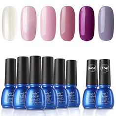 August Nail Colors - Gel Nail Polish Sets 8 Bottles - Candy Lover Selected 6 Popular Fall Colors Pink Purple Shimmering Pastel with Top Base Coat Set, UV LED Soak Off Nail Gel Polish Home Manicure Varnish Kit.  August Nail Colors, Acrylic Nail Colors, august wedding colors, Fall nail color acrylic,  acrylic nail designs simple, nail colors 2020 spring,  2019 fall nail colors Acrylic Nail Designs, Acrylic Nails, Gel Nails, August Wedding Colors, August Nails, Gel Nail Polish Set, Manicure At Home, Fall Nail Colors, Simple Nail Designs