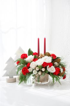 Teleflora's Winter Pines Centerpiece | Christmas Centerpiece | Christmas Flowers | Holiday Bouquet | #Christmas #Flowers Christmas Floral Arrangements, Christmas Centerpieces, Flower Arrangements, Christmas Flowers, Local Florist, Holiday Ideas, Christmas Ideas, Bouquet, Xmas