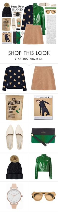 """""""Pom Pom Beanies"""" by cara-mia-mon-cher ❤ liked on Polyvore featuring Chinti and Parker, See by Chloé, Paul's Boutique, Urban Outfitters, Courrèges, Olivia Burton and Marni"""