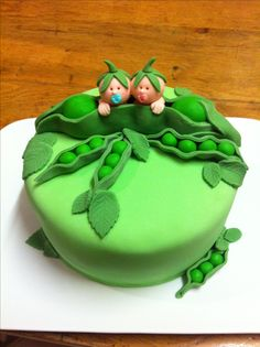 Two peas in a pod, baby shower cake.