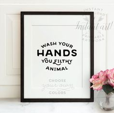 Wash Your Hands PRINTABLE art bathroom by TheCrownPrints on Etsy