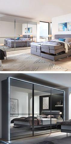 Schwebetürenschrank in grau, Schlafzimmerschrank mit Schiebetüren, Schlafzimmerschrank mit Spiegelfront Bedroom, Closet Ideas, Levitate, Armoire, Gray
