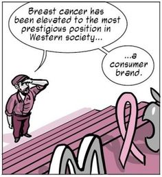 Think Before You Pink! Pink Ribbons are NOT a cure, and in many cases, brands that boast this ribbon contain ingredients that cause or contribute to breast cancer itself!