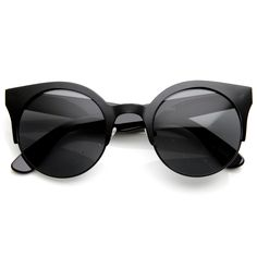Trendy Full Metal Half Frame Cat Eye Round Sunglasses 8821 | zeroUV