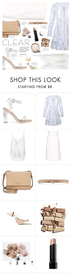"""""""It's all clear now"""" by federica-m ❤ liked on Polyvore featuring Moncler, Givenchy, TIBI, Calvin Klein, Valentino, Bobbi Brown Cosmetics, Avenue, Ladurée, clear and seethrough"""