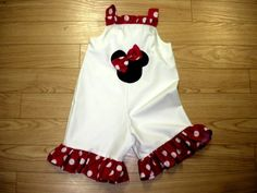 Minnie Custom Boutique White Red Dots Shortalls. $30.00, via Etsy.