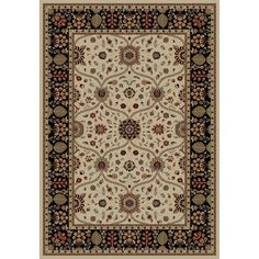 Shop Concord Global Valencia Cream/Black Rectangular Indoor Woven Area Rug (Common: 9 x 12; Actual: 111-in W x 154-in L) at Lowes.com