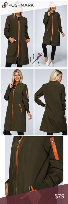 ✳️SALE✳️Extra Long Olive Bomber Jacket Woven bomber jacket Full body length Contrast color zippers 2 front zippered pockets and one on left arm Ribbed neckline and long sleeve cuffs Fully lined 100% polyester Bomber utility Bchic Jackets & Coats