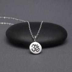 Om Necklace, Tiny Om Disc Necklace, Ohm Necklace, Yoga Jewelry, Zen Jewelry, Everyday Jewelry