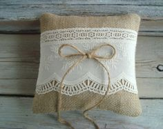 Ringbearer pillow in natural burlap with imported vintage ivory cotton overlay--choice of twine or satin ribbon