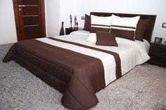 Prešívaná béžovo hnedá prikrývka na dvojposteľ do spálne