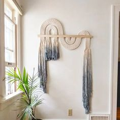 "Large blue ""Ebb + Flow"" macramé wall hanging, textile fiber knot art, Fringe Scandi style, bohemian accent, rope art - Scandinavian Design Trends - Have Best Home Decor ! Macrame Design, Macrame Art, Macrame Projects, Macrame Mirror, Macrame Wall Hanging Diy, Macrame Curtain, Macrame Knots, Art Corde, Deco France"