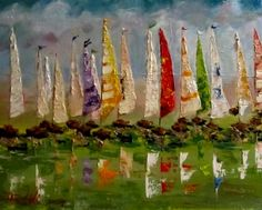 Delicious, sail boat art, painting by Delilah Smith