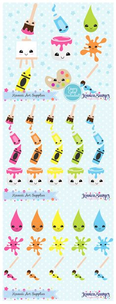 Kawaii Art Supplies Clipart and Vectors for crafts, products, planner stickers, and teachers