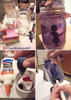 #TeamWeidemanDIY Fairy Mason Jar Lanterns Tips - Visit us.cricut.com/res/handbooks/AChildsYear_cw.pdf for cute fairy cut outs, electric tea lights will complete this enchanting decor!