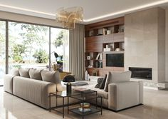 Private house in Cyprus on Behance Living Room Modern, Home Living Room, Living Room Designs, Loft Design, House Design, Diy Room Decor, Bedroom Decor, Home Decor, Family Room