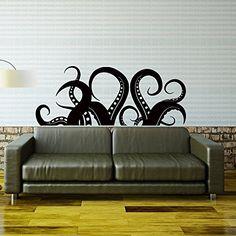 Kraken Octopus Tentacles Wall Decal Sea Ocean Animal Wall Decals Murals - Living Room Nursery Kids Bedroom Bathroom Wall Art Home Decor C093 #walldecals #nauticaldecor #vinylstickers #tentacles http://www.amazon.com/dp/B010HHVS2O/ref=cm_sw_r_pi_dp_iJdawb1GT171V