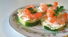 Shrimp and Cucumber Appetizers-A fresh and light appetizer of shrimp on top of cucumber slices with cream cheese from WellnessMama.com #seafood #appetizers #wellness