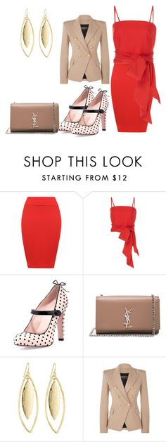Designer Clothes, Shoes & Bags for Women Balmain, Yves Saint Laurent, Valentino, Stripes, Shoe Bag, Formal, Polyvore, Red, Stuff To Buy