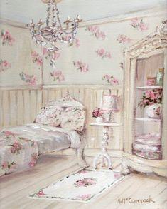 Incredible  Rose Art of Gail McCormack Set of 5  Cards Romantic Boudoir Series-Gail McCormack,roses, painting, art, Australian, teacups, roses,